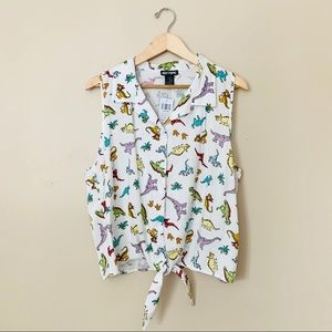 Hot Topic 2X Dinosaur Tie Front Button Up Tank